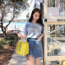 Fashion suit Summer 2021 S,M,L,XL Blue Short Sleeve + denim skirt MAJE BRIAN cotton