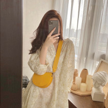 Dress Summer 2021 Dress (with sling skirt) S is suitable for 90-110 Jin, M is suitable for 111-125 Jin, l is suitable for 126-135 Jin, XL is suitable for 136-145 Jin longuette singleton  Long sleeves commute V-neck High waist Broken flowers Socket other pagoda sleeve Others 18-24 years old Type H