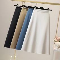 skirt Spring 2021 S,M,L,XL Black, apricot, blue, khaki longuette Versatile High waist Umbrella skirt Solid color Type A 25-29 years old 71% (inclusive) - 80% (inclusive) other polyester fiber Zipper, fold