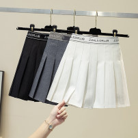 skirt Summer 2021 S,M,L,XL Gray, white, black Short skirt Versatile High waist Pleated skirt Solid color Type A 91% (inclusive) - 95% (inclusive) polyester fiber fold