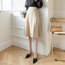skirt Spring 2021 S,M,L,XL Black, apricot longuette Versatile A-line skirt Solid color Type A 25-29 years old 31% (inclusive) - 50% (inclusive) cotton Lotus leaf edge
