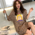 Pajamas / housewear set female Soft Honey cotton Short sleeve Sweet Leisure home summer routine Crew neck Leopard Print youth pure cotton printing Middle-skirt