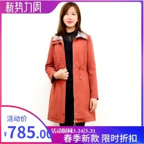 Windbreaker Spring 2021 S,M,L,XL,2XL Y23 brick red Long sleeves routine Medium length commute zipper Pile collar routine Solid color Straight cylinder K & ch / fiber C203D106E1 pocket 96% and above polyester fiber polyester fiber polyester fiber