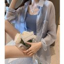 Lace / Chiffon Autumn 2020 Blue, white, pink M,L,XL,XXL,3XL Long sleeves commute Cardigan singleton  Straight cylinder Medium length Polo collar Solid color routine 18-24 years old Other / other QQCX2061305 Button 31% (inclusive) - 50% (inclusive) polyester fiber