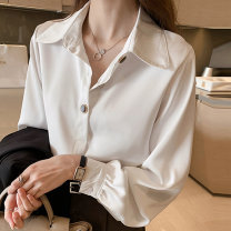 shirt S M L XL 2XL 3XL 4XL Autumn 2020 other 96% and above Long sleeves commute Regular Polo collar Three buttons bishop sleeve Solid color 18-24 years old Straight cylinder L'uechunre Korean version Button Other 100% Pure e-commerce (online only) Chiffon