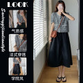 Women's large Summer 2021 Plaid Top Skirt Suit Two piece set commute Short sleeve Solid color Retro Crew neck cotton routine 1788 spot Star Charm 25-29 years old Button longuette Other 100% Same model in shopping mall (sold online and offline)