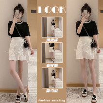 Women's large Summer 2021 Two piece jacket and skirt Two piece set commute easy moderate Short sleeve Solid color Korean version Crew neck routine polyester fiber routine Star Charm 18-24 years old zipper Short skirt Other 100% Same model in shopping mall (sold online and offline) shorts