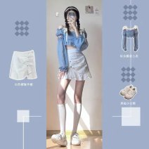 Women's large Summer 2021 Top skirt two piece suit Two piece set commute Long sleeves Solid color Korean version routine cotton Star Charm 18-24 years old Short skirt Triacetate 70% Cotton 30% Same model in shopping mall (sold online and offline) shorts