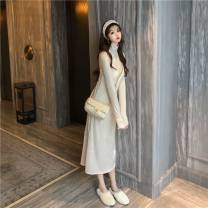 Dress Autumn of 2019 Average size longuette singleton  Sleeveless commute V-neck High waist Solid color Socket A-line skirt camisole 18-24 years old Other Korean version
