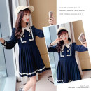 Dress Navy Blue female Other / other 110cm,120cm,130cm,140cm,150cm,160cm,170cm Other 100% spring and autumn Korean version Long sleeves Solid color other Pleats Class B Chinese Mainland