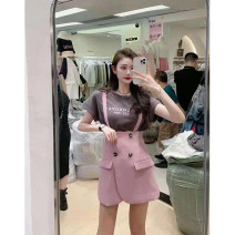 Dress Summer 2021 S M L XL Short skirt Two piece set Short sleeve commute Crew neck High waist Solid color A-line skirt routine camisole 18-24 years old Type A Korean version Button More than 95% other Other 100% Pure e-commerce (online only)