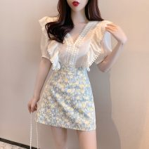 Fashion suit Summer 2021 S M L Apricot top lace A-line skirt 18-25 years old Love Dihui 31% (inclusive) - 50% (inclusive) spandex Other 100% Same model in shopping mall (sold online and offline)