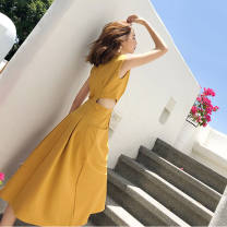Dress Summer 2021 Lemon yellow, black S,M,L,XL Mid length dress singleton  Sleeveless commute Crew neck High waist Solid color A-line skirt routine Others 18-24 years old Type A Other / other Korean version Vintage, lace, solid 30% and below other other
