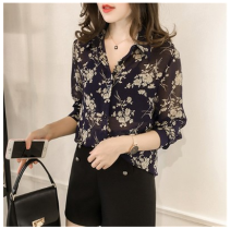 shirt M,L,XL,2XL,3XL Summer 2021 other 30% and below Long sleeves commute Polo collar Single row multi button routine Broken flowers 18-24 years old Self cultivation Other / other Korean version
