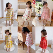 Dress Army green sky blue light yellow white pink yellow black lemon yellow light white powder spot light pink golden yellow off white light white smoke white light white powder female Oba cute 80cm 90cm 100cm 110cm 120cm Other 100% summer lady Skirt / vest Broken flowers Sticky cotton Class B