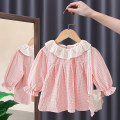 Dress Apricot, pink female Tagkita / she and others 80, 90, 100, 110, 120, 130 Other 100% spring and autumn Korean version Long sleeves lattice cotton Pleats FHW639 Class A 9 months, 18 months, 2 years old, 3 years old, 4 years old, 5 years old, 6 years old, 7 years old, 8 years old Chinese Mainland
