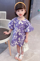 Dress violet female Dalio 80cm 90cm 100cm 110cm 120cm 130cm Other 100% summer Korean version Short sleeve Broken flowers cotton A-line skirt Summer 2021 12 months, 6 months, 9 months, 18 months, 2 years, 3 years, 4 years, 5 years, 6 years Chinese Mainland Zhejiang Province Huzhou City
