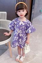 Dress violet female Dalio 80cm 90cm 100cm 110cm 120cm 130cm Other 100% summer Korean version Short sleeve Broken flowers cotton A-line skirt Summer 2021 12 months, 6 months, 9 months, 18 months, 2 years, 3 years, 4 years, 5 years, 6 years Chinese Mainland Zhejiang Province Huzhou City