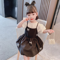 suit Dalio 90cm 100cm 110cm 120cm 130cm female summer Korean version Short sleeve + skirt 2 pieces routine There are models in the real shooting Socket nothing Solid color cotton elder Expression of love Summer 2021 12 months 9 months 18 months 2 years 3 years 4 years 5 years 6 years old Huzhou City