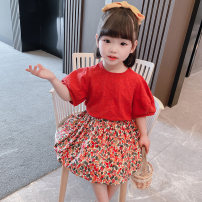 suit Dalio 90cm 100cm 110cm 120cm 130cm female summer Europe and America Short sleeve + skirt 2 pieces routine There are models in the real shooting Socket nothing Solid color cotton elder Expression of love Summer 2021 12 months 9 months 18 months 2 years 3 years 4 years 5 years 6 years old