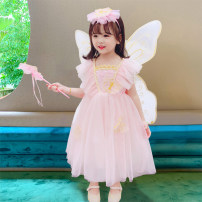Dress 6061 wing Dress Pink 6061 wing dress light blue female Dalio 90cm 100cm 110cm 120cm 130cm 140cm 150cm Other 100% summer Korean version Short sleeve Solid color Netting Cake skirt Summer 2021 12 months, 6 months, 9 months, 18 months, 2 years, 3 years, 4 years, 5 years, 6 years Chinese Mainland