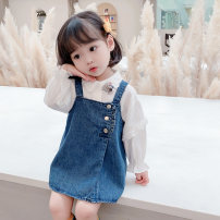 suit Dalio blue 80cm 90cm 100cm 110cm 120cm 130cm female spring and autumn Korean version Long sleeve + skirt 2 pieces routine There are models in the real shooting Socket nothing Solid color cotton elder Expression of love Spring 2021 Chinese Mainland Zhejiang Province Huzhou City