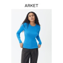 sweater Spring 2021 155/80A 160/88A 165/96A 170/104A Bright blue Long sleeves Socket singleton  Regular wool 95% and above Crew neck Thin money commute routine Solid color Self cultivation 25-29 years old Arket wool Wool 100% Same model in shopping mall (sold online and offline)