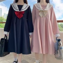 Dress Winter 2020 Pink dress (no bows), Navy Dress (no bows) M, L Mid length dress singleton  Long sleeves commute Admiral High waist other Socket Princess Dress routine 18-24 years old Other Korean version 51% (inclusive) - 70% (inclusive) cotton