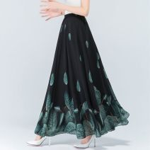 skirt Summer 2020 M (for 80-100 kg), l (for 100-120 kg), XL (for 120-140 kg), 2XL (for 140-160 kg), 3XL (for 160-180 kg) Black background, green leaves, red flower orientation, yellow flower orientation longuette High waist Fairy Dress Other / other printing