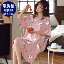 Nightdress Pinot monkey Cartoon camisole UltraShort  Sports Home Solid color spring middle age Crew neck cotton printing More than 95% 7565487687-QU6G 200g and below Summer 2021 Cotton 95% other 5% Pure e-commerce (online sales only) Other 100% M L XL 2XL 3XL 4XL 5XL