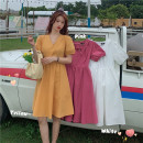 Dress Summer 2020 Ginger, white, pink Average size Short skirt singleton  Short sleeve commute V-neck High waist Solid color A-line skirt puff sleeve Others Type A Korean version