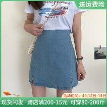skirt Summer 2021 S,M,L,XL,2XL,3XL,4XL blue Short skirt commute High waist A-line skirt Solid color Type A Denim other Three dimensional decoration, zipper Korean version