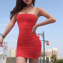 Dress Summer of 2018 White, red, black S,M,L Middle-skirt singleton  Sleeveless street middle-waisted Solid color Socket One pace skirt Others 25-29 years old Type A Splicing 91% (inclusive) - 95% (inclusive) other Europe and America