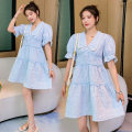 Dress Cherish the shadow Korean version Short sleeve Medium length summer Lapel Solid color Polyester cotton xy-z04183 Chinese Mainland Guangdong Province Guangzhou City Picture color M L XL XXL