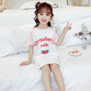 Home skirt / Nightgown Willow green and orange yellow 90cm 100cm 110cm 120cm 130cm 140cm 150cm 160cm Other 100% Strawberry powder strawberry blue summer female Home Class B cotton Q002 Summer 2021