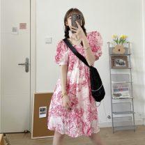 Women's large Summer 2021 Pink S,M,L singleton  commute easy Short sleeve Retro square neck 18-24 years old Short skirt
