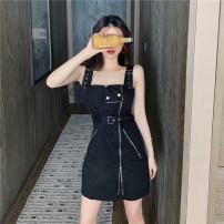 Women's large Summer 2021 Red, black S,M,L singleton  commute Self cultivation Sleeveless Retro One word collar 18-24 years old Short skirt