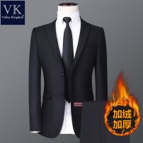 Suit other Others Black Plush thickening (coat + trousers) 165 (recommended weight 90-105 kg), 170 (recommended weight 105-120 kg), 175 (recommended weight 120-135 kg), 180 (recommended weight 135-150 kg), 185 (recommended weight 150-165 kg), 190 (recommended weight 165-180 kg) Flat lapel Double slit