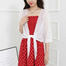 Lace / Chiffon Summer 2020 Red, black, white three quarter sleeve commute Cardigan singleton  easy have cash less than that is registered in the accounts V-neck other 18-24 years old Other / other Solid color Korean version 91% (inclusive) - 95% (inclusive) polyester fiber