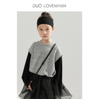 Sweater / sweater DUOLOVEMAMA neutral 90cm 100cm 110cm 120cm 130cm 140cm spring and autumn nothing leisure time Socket routine There are models in the real shooting cotton Solid color Cotton 100% Class A Spring 2021