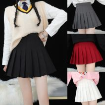 skirt Spring of 2018 Short skirt Versatile High waist Pleated skirt lattice Type A 18-24 years old 30% and below other Other / other Lycra Lycra 301g / m ^ 2 (including) - 350g / m ^ 2 (including)