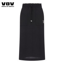 skirt Summer 2020 Black Camel Mid length dress Natural waist Solid color 25-29 years old More than 95% Vov polyester fiber Polyester 100% Same model in shopping mall (sold online and offline)