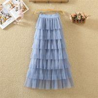 skirt Autumn 2020 Average size Black, apricot, light blue, khaki, pink, white [pure white] Mid length dress High waist Cake skirt Gauze