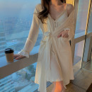 Nightdress Other / other Sweet camisole Leisure home longuette spring Solid color youth Shirt collar cotton printing More than 95% Knitted cotton fabric