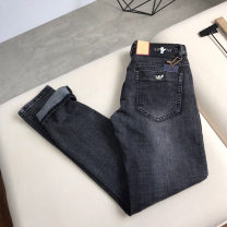 Jeans Fashion City Others 29,30,31,32,33,34,36,38 Wash black routine Micro bomb Regular denim trousers Other leisure Four seasons youth middle-waisted Slim feet tide 2020 Little straight foot Button washing badge washing