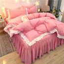 Bedding Set / four piece set / multi piece set cotton Quilting, hot drilling Solid color 128x68 Other / other cotton 4 pieces 40 Bed sheet, bed skirt First Grade Simplicity 100% cotton twill Reactive Print  Thermal storage