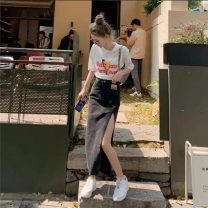 """skirt Summer 2021 S,M,L,XL Black gray denim skirt, blue denim skirt, bear short sleeve T-shirt, """"collect and buy free shipping insurance"""" Mid length dress commute High waist A-line skirt letter Type A 18-24 years old 30% and below other other Pockets, stitching Korean version"""