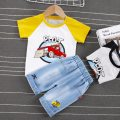 suit Yezai Xinteng Yellow black 80cm 90cm 100cm 110cm neutral summer leisure time Short sleeve + pants 2 pieces routine Socket nothing Cartoon animation cotton Forklift short sleeve suit Summer 2021 6 months 12 months 9 months 18 months 2 years 3 years 4 years old