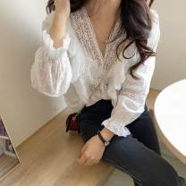 shirt White, tail goods will be delivered randomly S,M,L,XL,2XL Summer 2021 other 96% and above Long sleeves commute Regular V-neck Single row multi button routine Solid color 18-24 years old Self cultivation Korean version