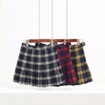 skirt Summer of 2018 XS,S,M,L,XL Tibetan white, Tibetan yellow, Tibetan red Short skirt Versatile High waist Pleated skirt lattice Type A 18-24 years old 51% (inclusive) - 70% (inclusive) cotton fold